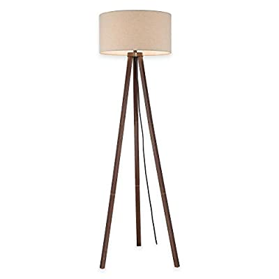 Tripod Floor Lamp in Walnut with Linen Shade