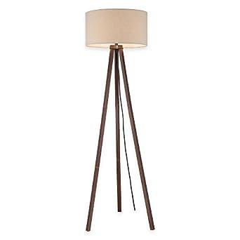 Tripod Floor Lamp in Walnut with Linen Shade - - Amazon.com