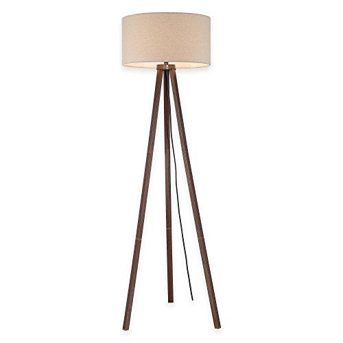 Tripod Floor Lamp In Walnut With Linen Shade