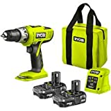 RYOBI 18V CORDLESS HAMMER DRILL .COMPLETE WITH X2 LITHIUM BATTERIES ,FAST GREEN SUPER LIGHTWEIGHT CHARGER AND RYOBI CANVAS TOOL BAG ,COMPLETE PROFFESIONAL KIT