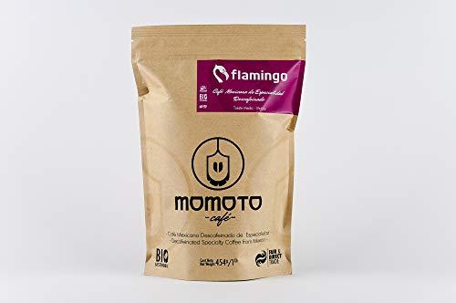 Momoto café mexicano, descafeinado y de especialidad, flamingo molido, 1 lb, Tueste Obscuro