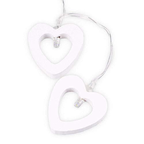 Kiorc Creative Wooden Heart LED String Lights Christmas Love Decor Wedding Party Decor ()