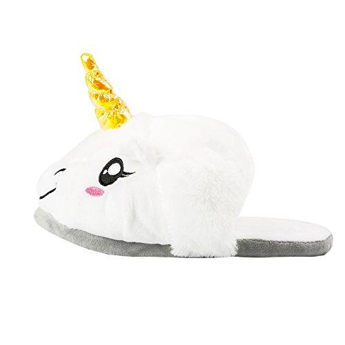 Chaussures Pantoufles Licorne Hiver Licorne Peluche Chaussons Coton Chaussons dou Peluche Chaussons Noël Unicorn Nouveauté PALMFOX Blanc Très OxqwHnC