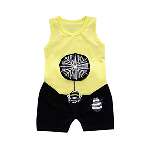 LIFLWO Baby Outfit Summer Tops, 0-2 Years Old Toddler Boys Cartoon Spider Vest Shirts Shorts Pants Yellow