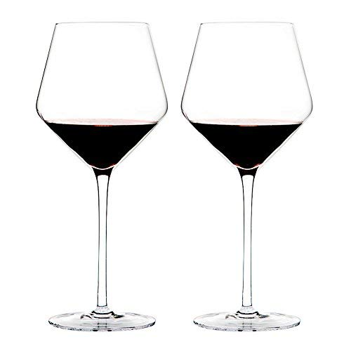 Glass Wine Lead Crystal (Triangle 23oz, Hand Blown Lead-free Crystal Glass Burgundy/Pinot Noir Red Wine Glasses, Set of 2, Large Bowl and Long Stem, Wedding Gift Set)