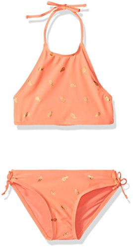 Coral Bikini (The Children's Place Little Girls' Halter Bikini Swimsuit, Coral Rocket, S)