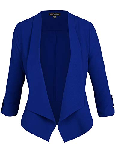 Michel Women's Casual 3/4 Sleeve Open Front Blazer Cardian Jacket Work Office Blazer RoyalBlue Small