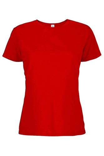 (Casual Garb Women's Crew Neck Short Sleeve Tee T-Shirts for Women Red Large)