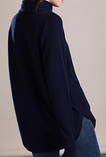 Manche Bleu Robe Col Cachemire Dissa Longue Roulé Femme Pull Tricot Vrac F5106 En 100 nxqpA6fIO6