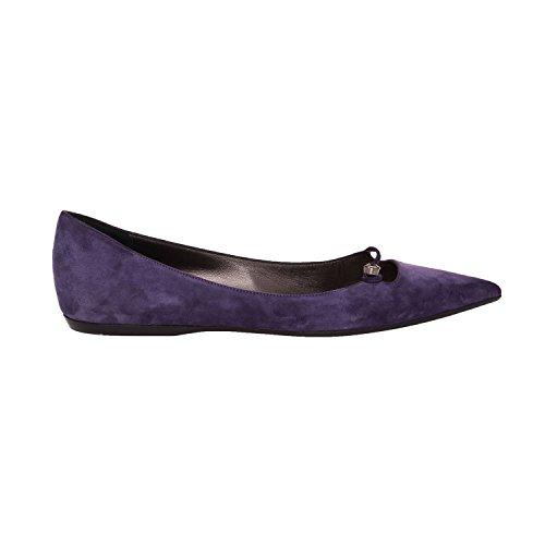 Giorgio Armani Zapatos De Bailarina Planos De Ballet Con Punta De Cuero Púrpura, Ante, Para Mujer Us 9.5 Eu 39.5