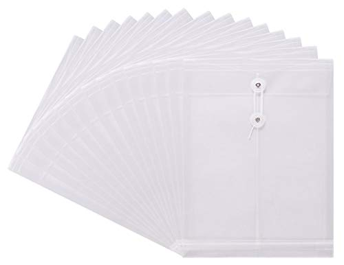 TIENO PVC String Envelope with Expandable Gusset Transparent Top Load Letter Size Folder Pocket Pack of 15 White ()