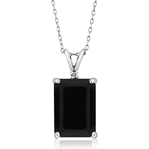 Gem Stone King Sterling Silver Emerald Cut Black Onyx & White Diamond Pendant Necklace (7.38 cttw, With 18 Inch Silver Chain)