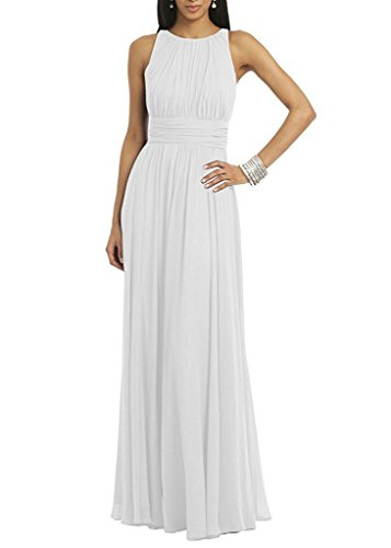 Maggie Sottero Prom - Women Halter Neck Sleeveless Chiffon Formal Long Evening Maxi Dresses White US12