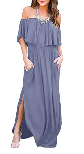 LILBETTER Womens Off The Shoulder Ruffle Party Dresses Side Split Beach Maxi Dress (M, Purple Grey)]()
