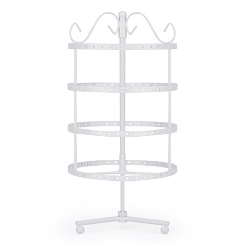Flexzion 4 Tiers Earring Holder Jewelry Organizer 92 Pairs - Necklace Rotating Spin Stand Display Bracelet Ring Pendants Tabletop Storage Store Rack Tower with Hook on Top for Women Girl (White) - Pedestal Dip
