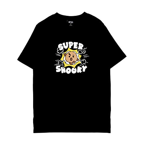 BT21 Official Merchandise by Line Friends - SHOOKY Character Unisex Artwork Graphic T-Shirt, Extra Large, Black