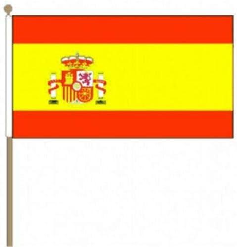 Flagmania® Paquete de 12 Banderas de Mano de Gran tamaño con Escudo de España (30, 5 x 45, 7 cm) + Insignia de botón de 59 mm: Amazon.es: Jardín