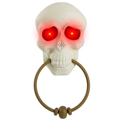 Halloween Door Songs (MEWTOGO Halloween Light Up Talking Doorbell- Skull Design Scary and Haunted Halloween Door Bell Decorations for Outdoor House Party Bar Door Prop)