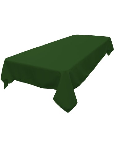 LA Linen Polyester Poplin Rectangular Tablecloth, Emerald Green, 60