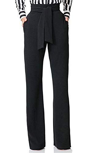 LKOUS Women Work Casual Stretchy Straight Wide Leg High Waisted Long Pants with Belt Black XXL
