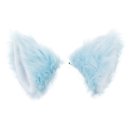 BAOBAO Cat Fox Long Fur Ears Hair Clip Headwear Neko Cosplay Halloween Costume(Sky Blue) ()