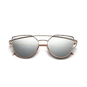 OMIU Women Sunglasses Cat Eye Mirrored Flat Lenses Metal Frame Fashion Sunglasses for Women UV400 204