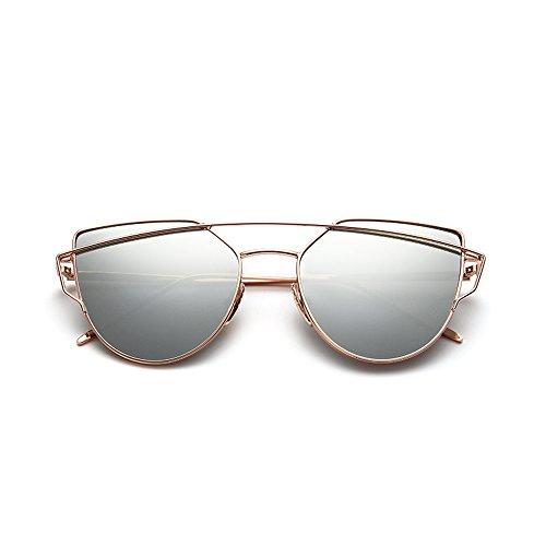 OMIU Women Sunglasses Cat Eye Mirrored Flat Lenses Metal Frame Fashion Sunglasses for Women UV400 - Type Round Of For Face Sunglasses