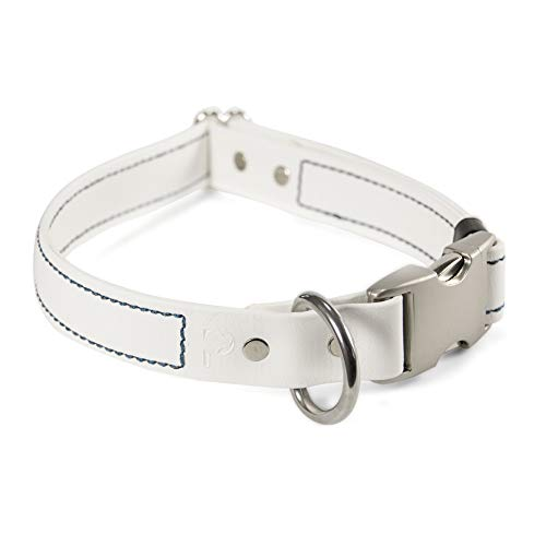 PACKT Quick Release Waterproof Stinkproof Dog Collar, White-M ()
