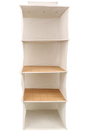 Miamour Bamboo Storage Organizer, 4 Pockets, White