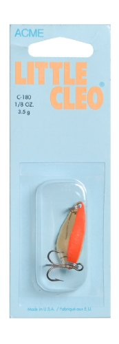 Acme Little Cleo Fishing Terminal Tackle, 1/8-Ounce, Gold Fluorescent Stripe