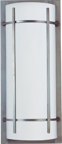 Maxim 85216WTBM Luna 2-Light Outdoor Wall Lantern, Brushed Metal Finish, White Glass, GU24 Fluorescent Fluorescent Bulb , 40W Max., Damp Safety Rating, 2900K Color Temp, Standard Dimmable, Glass Shade Material, (2 Light Fluorescent Outdoor Pendant)