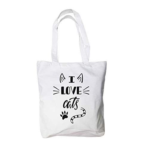 Love Cat Large Canvas Tote Bag - Cat Lovers Gift for Women - 100% Natural Cotton - Heavy Duty - Ideal Groceries, School, Shopping or Cat Toys - Personalize it with Permanent Marker Included
