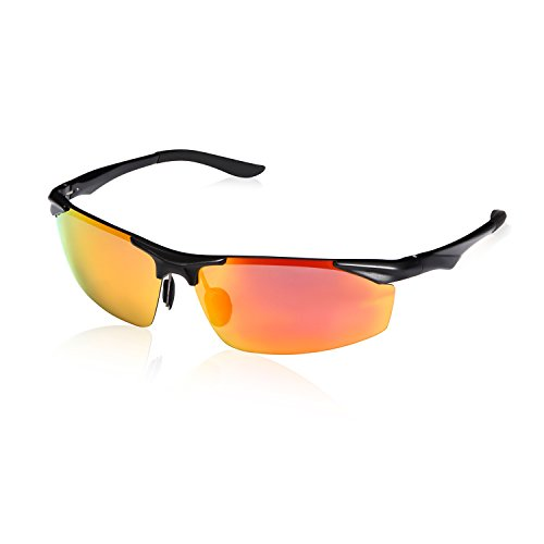 CREAST Al-Mg Polarized Sport Sunglasses,Wayfarer Unisex Eyewear Driving - Rimless Sunglasses Cycling