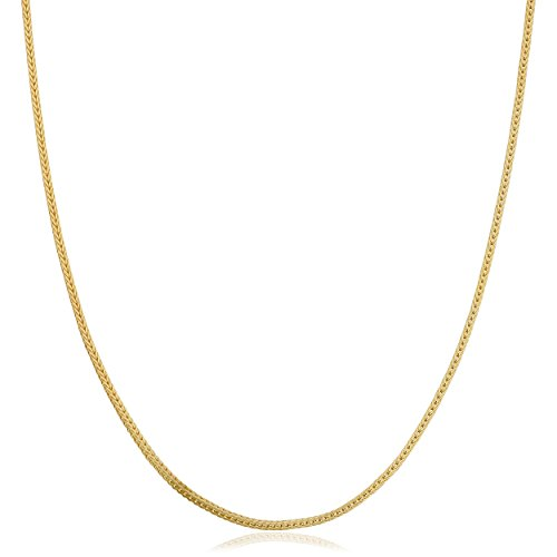 Kooljewelry 14k Yellow Gold 0.85mm Square Foxtail Chain Necklace (18 inch)