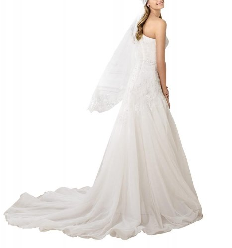 ausfuehrlich Applikationen GEORGE aermel auf Brautkleider Sexy der Hochzeitskleid Weiß Zarte Arthemden Hochzeitskleider Rueckseite BRIDE r0zqr