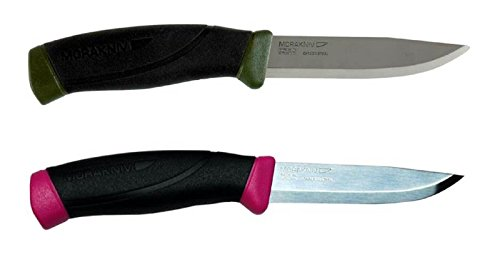 Bundle - 2 Items: Morakniv Companion MG Carbon Steel Knife and Morakniv Companion Stainless Steel Knife (Magenta)