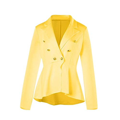 Primaverile Gelb Monocromo Fashion Autunno Giubbino Eleganza Sottile Donna Lunghe Stile Blazer Business Stile Ufficio Elegante Bavero Tailleur Maniche Classiche Outwear SAwBqxq