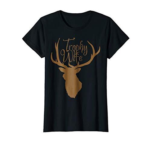 Womens Cute Trophy Wife T-Shirt for Hunter Wives Medium Black