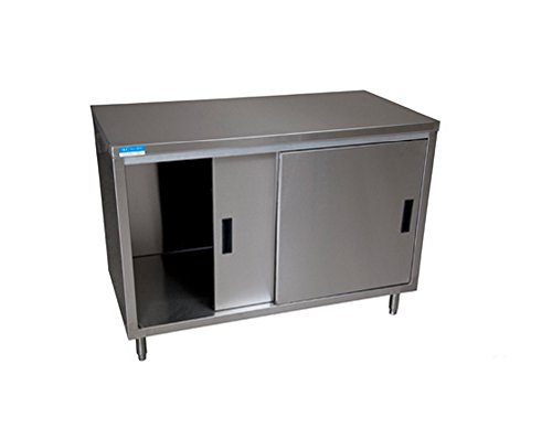 Stainless Steel (Enclosed) Cabinet Base Work Table w/ Sliding Doors, 24