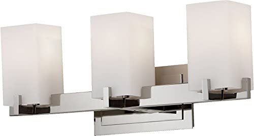 Feiss VS18403-PN Riva Glass Wall Vanity Bath Lighting, Chrome, 3-Light 21.5 W x 9 H 300watts