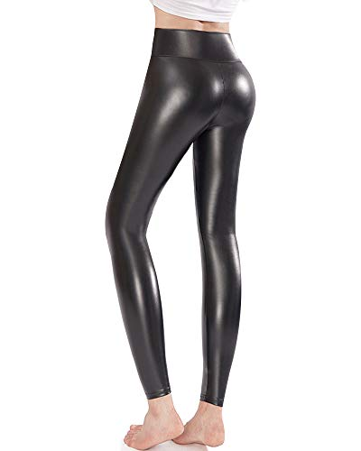 Ginasy Faux Leather Leggings Pants Stretchy High Waisted Tights for Women (Medium, High Waisted Black)