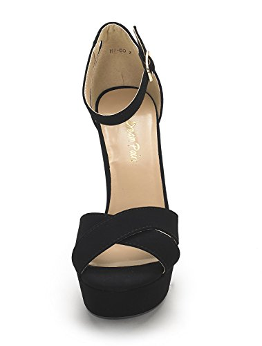 Platform Pump Heel High Womens Nubuck DREAM Go Sandals PAIRS Black Hi wXqxYq607