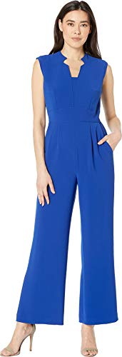 (Tahari by ASL Women's Petite Sleeveless Star Neck Stretch Crepe Jumpsuit Cobalt 8 Petite)