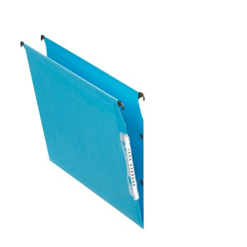 Esselte Dual Lateral Suspension File, A4, V-Base, Pack of 25 Connectable Files, Tabs Included, Blue, Orgarex Range, 21634