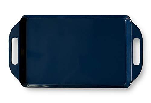 Bowla Melamine Rectangular Serving Tray with Handles (Dark Blue) (Tray Handles With Melamine)