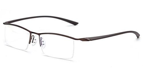 JNS Titanium Semi-rimless Eyeglasses Business Optical Frame Clear Lens (Bronze, Transparent)