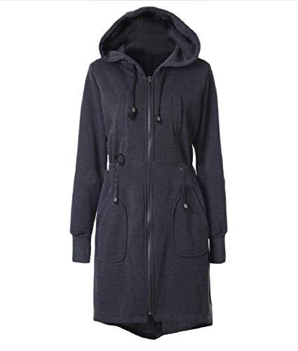 Tunica Inverno Grigio Cappotto Rivestimento Scuro size Autunno Caldo Plus Xinheo Del Del Donne Della Tasca XC4fwx