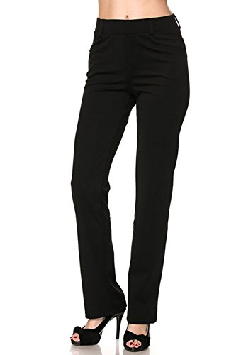 Vina Vino Women's Pull-On Stretchy Solid Dressy Pants (Pinstripe Suit Petite)