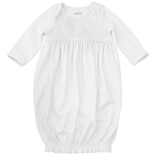 Mud Pie Baby Infant Christening French Knot Cross Gown, White, 0-3 Months (Baptism Gowns For Boys)