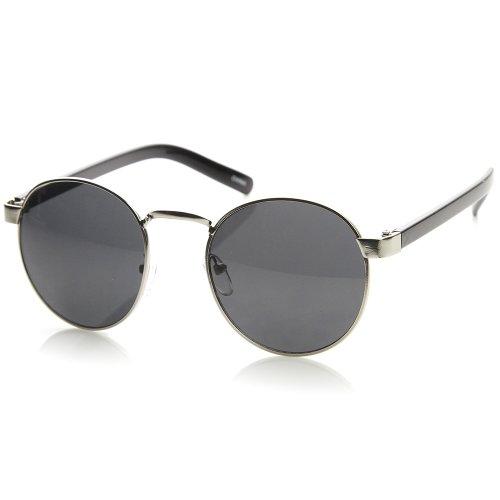 zeroUV - Lennon Style Round Metal Sunglasses Men Women Salt Bae Glasses (Silver-Black - Glasses Frames Salt